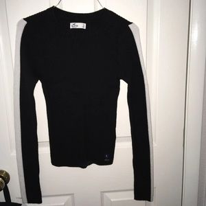 white striped  and black long sleeve